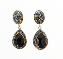 Load image into Gallery viewer, Black Onyx Teardrop and Pave Earrings