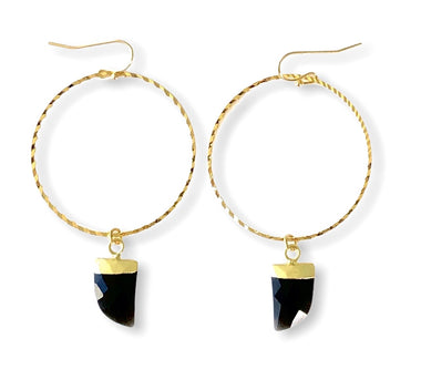 Black Onyx Hoops in Yellow Gold