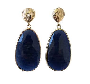 Dark Blue Catseye Teardrop Earrings