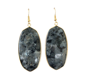 Black Labradorite Geometric Earrings