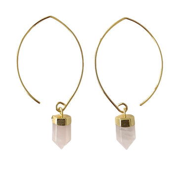 ROSE QUARTZ SEMI-HOOPS