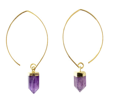 Amethyst Semi Hoops