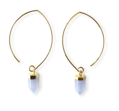 BLUE LACE AGATE SEMI-HOOPS