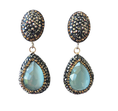 Aquamarine Teardrop and Pave Earrings