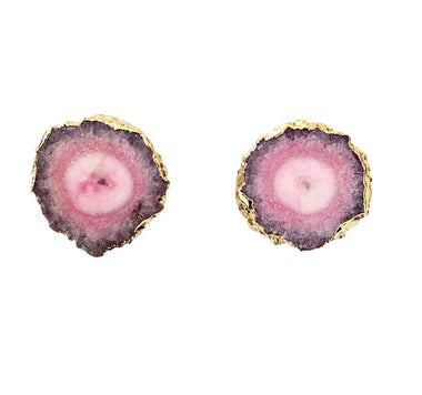 Pink Solar Quartz Stud Earrings