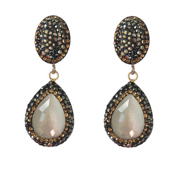 White Catseye Teardrop and Pave Earrings