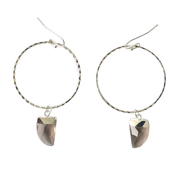 Smoky Quartz Hoop Earrings in White Gold