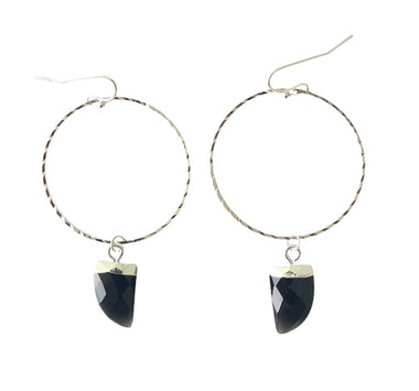 Black Onyx Hoops in White Gold