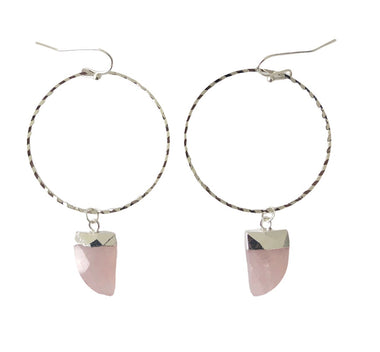 Rose Quartz White Gold Hoops
