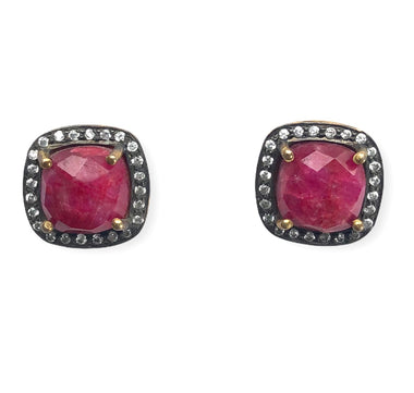 Dyed Ruby Stud Earrings