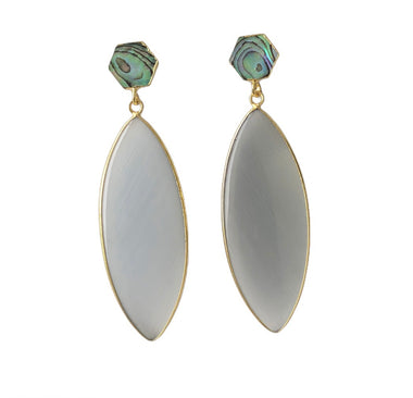 Grey Catseye and Abalone Shell Earrings