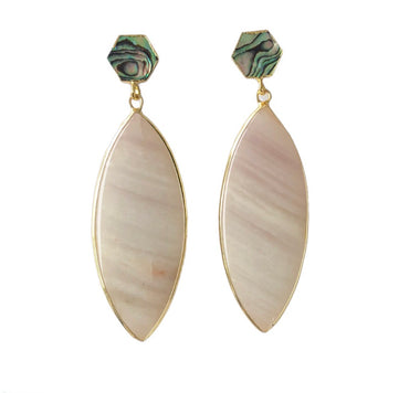 Pink Catseye and Abalone Shell Earrings