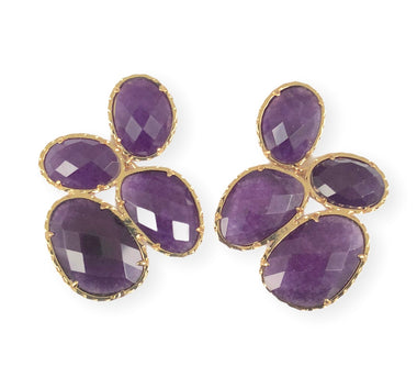 Purple Catseye Cluster Earrings