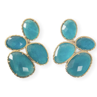 Aqua Catseye Cluster Earrings