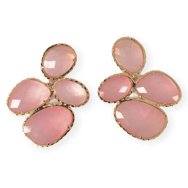 Pink Catseye Cluster Earrings
