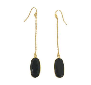Black Onyx Chain Earrings