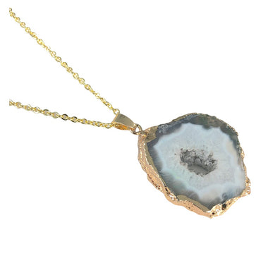 Sliced Grey Agate Necklace