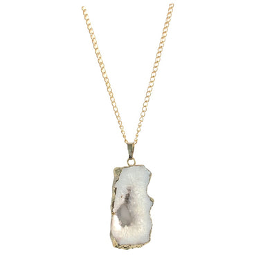 Sliced White Agate Necklace
