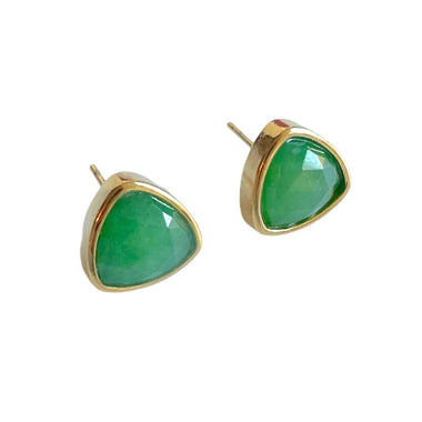 Green Onyx Trillion Stud Earrings