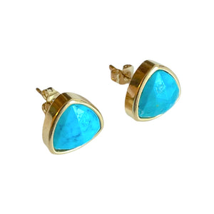 Turquoise Trillion Stud Earrings