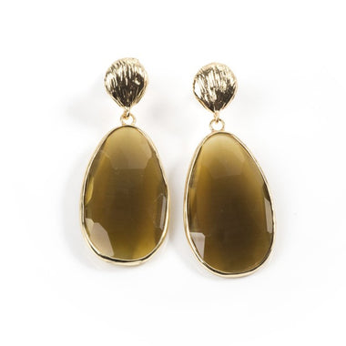 Gold Catseye Teardrop Earrings