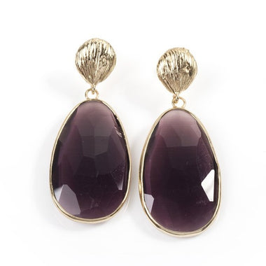 PURPLE CATS EYE TEARDROP EARRINGS
