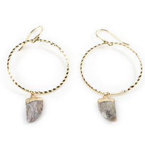 Mexican Grey Agate Yellow Gold Hoops