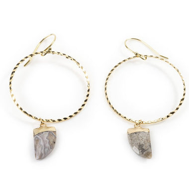 KEEVA MEXICAN GREY AGATE HOOPS