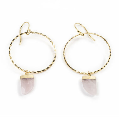Rose Quartz Yellow Gold Hoops