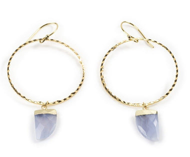 Blue Lace Agate Hoops