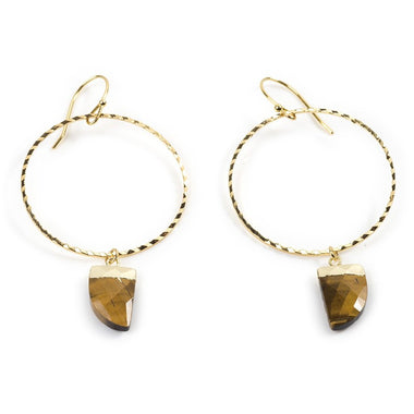 TIGERS EYE YELLOW GOLD HOOPS