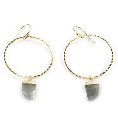 Labradorite Yellow Gold Hoops