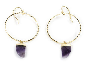 AMETHYST HOOPS EARRINGS YELLOW GOLD