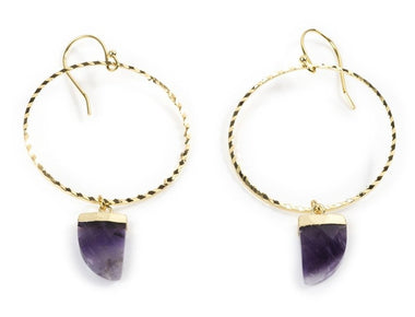 Amethyst Hoop Earrings in Yellow Gold