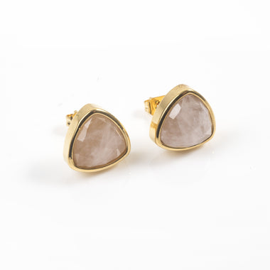 Rose Quartz Trillion Stud Earrings