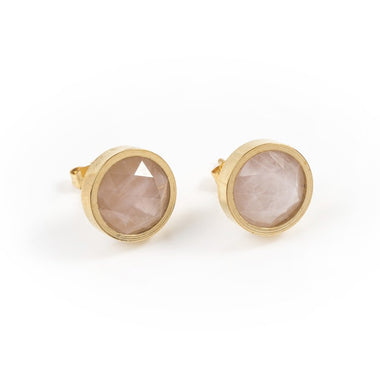 ROSE QUARTZ ROUND STUD EARRINGS