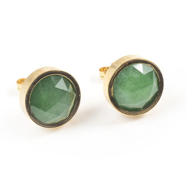 GREEN ONYX ROUND STUD EARRINGS