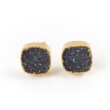 Grey Druzy Stud Earrings