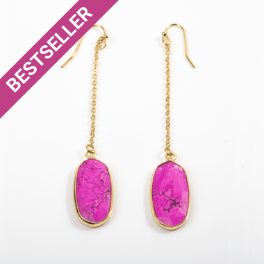 Pink Howlite Chain Earrings