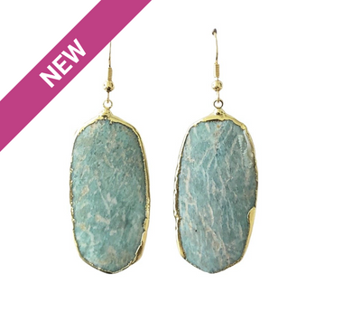 Amazonite Geometric Earrings