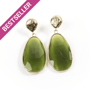 Green Catseye Teardrop Earrings