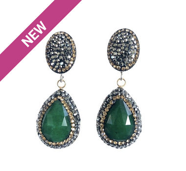 Green Onyx Teardrop and Pave Earrings