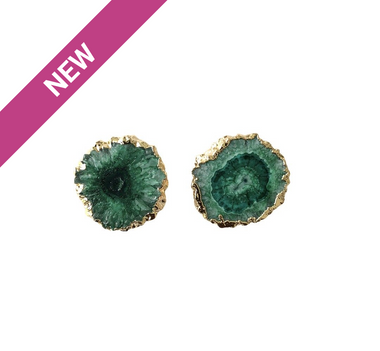 Green Solar Quartz Stud Earrings