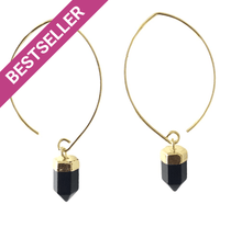 Load image into Gallery viewer, Black Onyx Semi Hoops