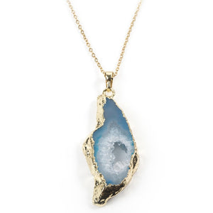 Sliced Blue Agate Necklace