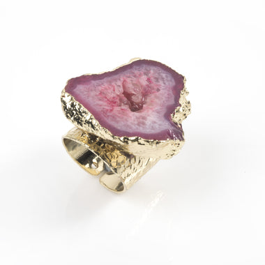 Pink Agate Geode Ring