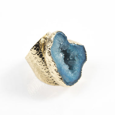 Blue Agate Geode Ring