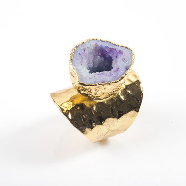 Purple Agate Geode Ring