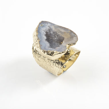 Grey Agate Geode Ring