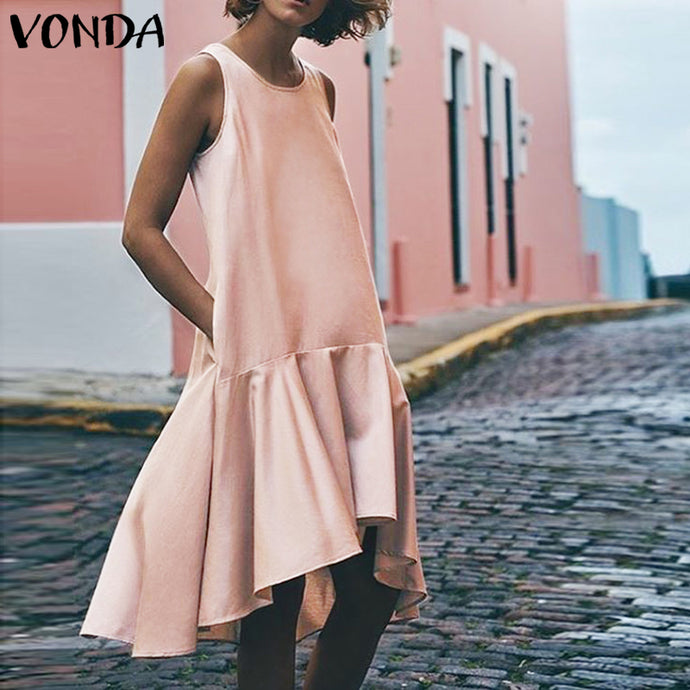 2019 VONDA Women Summer Dress Sexy Sleeveless Irregular Ruffle Hem Vest Maxi Dresses Beach Long Tops Plus Size Casual Vestidos